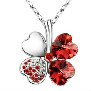 Red Four Heart Clover necklace,Swarovski elements